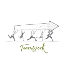 Hand drawn teamwork concept with lettering vector image
