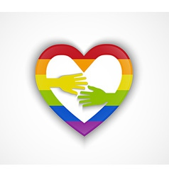 Heart shape with gay flag and two hands vector