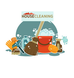 house cleaning service promotional emblem isolated vector image vector image