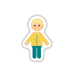 In paper sticker style little vector