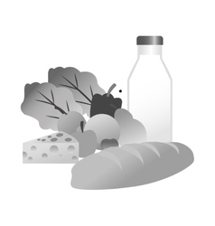 Isolated milk vegetables fruits and bread design vector
