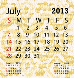 july 2013 calendar albino snake skin vector image