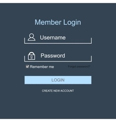 Login form menu with simple line icons vector