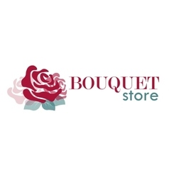 logo with rose for bouquet store or flower shop vector image vector image