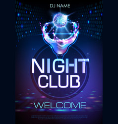 neon disco cocktail party poster vector image vector image