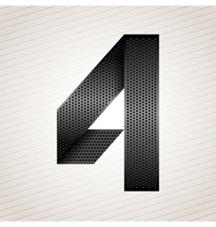 Number metal ribbon - 4 - four vector image