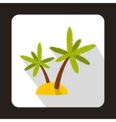 Palm trees on island icon flat style vector