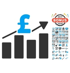 Pound business chart icon with 2017 year bonus vector