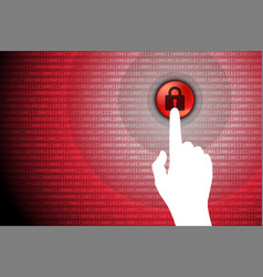 red technology background touch lock button vector image vector image