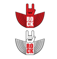 Rock hand sign flying logo for rock band vector