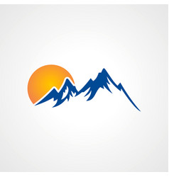 rocky high mountain sun logo vector image