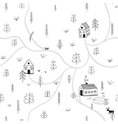 seamless pattern with forest houses vector image
