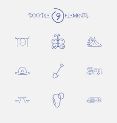 Set of 9 editable travel doodles includes symbols vector