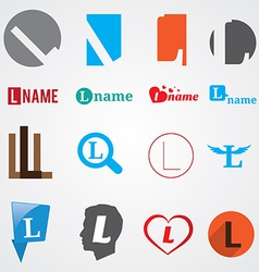 Set of alphabet symbols of letter L vector image