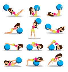 Set of exercise ball workouts design vector
