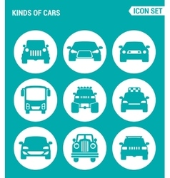 set of round icons white Kinds of cars SUV car vector image vector image