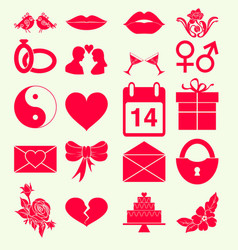 Set valentines day holiday icon monochrome red vector