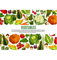 Vegetable and mushroom border banner design vector