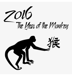 year of monkey with symbol for monkey and monkey vector image vector image