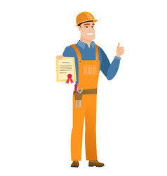 Young caucasian builder holding a certificate vector