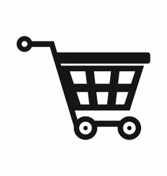 Basket on wheels icon simple style vector
