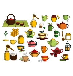 Tea drinks and dinnerware sketch icons vector