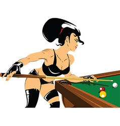 Woman playing snooker vector