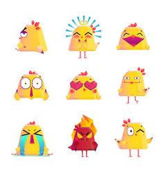 Funny chicken cartoon character icons set vector