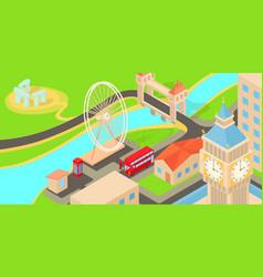 England travel horizontal banner cartoon style vector