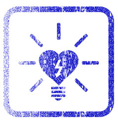 Heart electric bulb framed textured icon vector