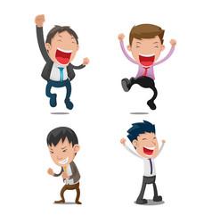 man cartoon happy jump set vector image