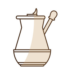 Brown silhouette shading jar of coffee with handle vector