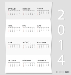 Simple 2014 year calendar vector