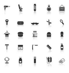 barber icons with reflect on white background vector image