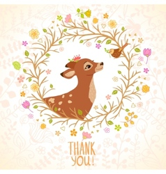 Deer and bird vector