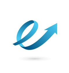 Letter e arrow loop logo icon vector