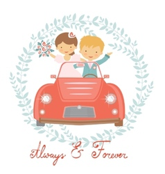 Cute wedding couple vector image