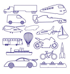 Transportation outline blue simple icons set eps10 vector