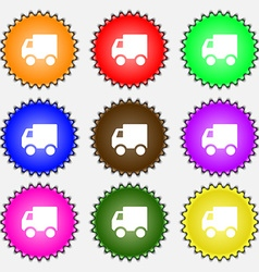Delivery truck icon sign a set of nine different vector
