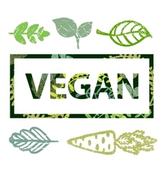 Vegan print stamp t shirt with leaves vector