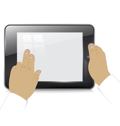 Tablet computer in businessman hands vector