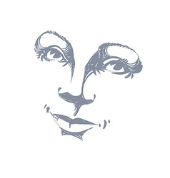 Hand-drawn of woman face black and white mask with vector