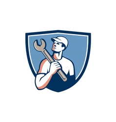 Tradesman mechanic spanner crest retro vector