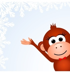 Christmas background card with monkey vector