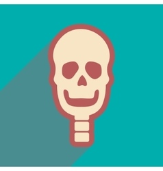 Flat icon with long shadow human skull vector