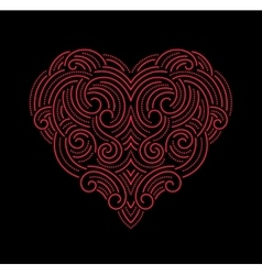 Valentine day beautiful thin line ornamental heart vector