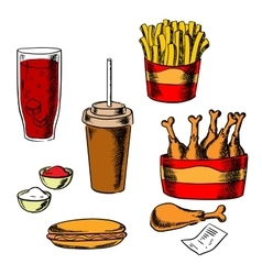 Fast food snacks and drinks set vector