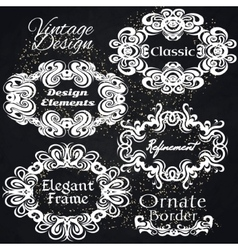 Vintage frame set on black retro background vector