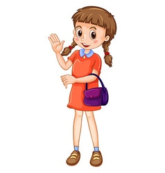 Little girl carrying purple purse vector image