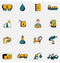 Oil industry set icons vector